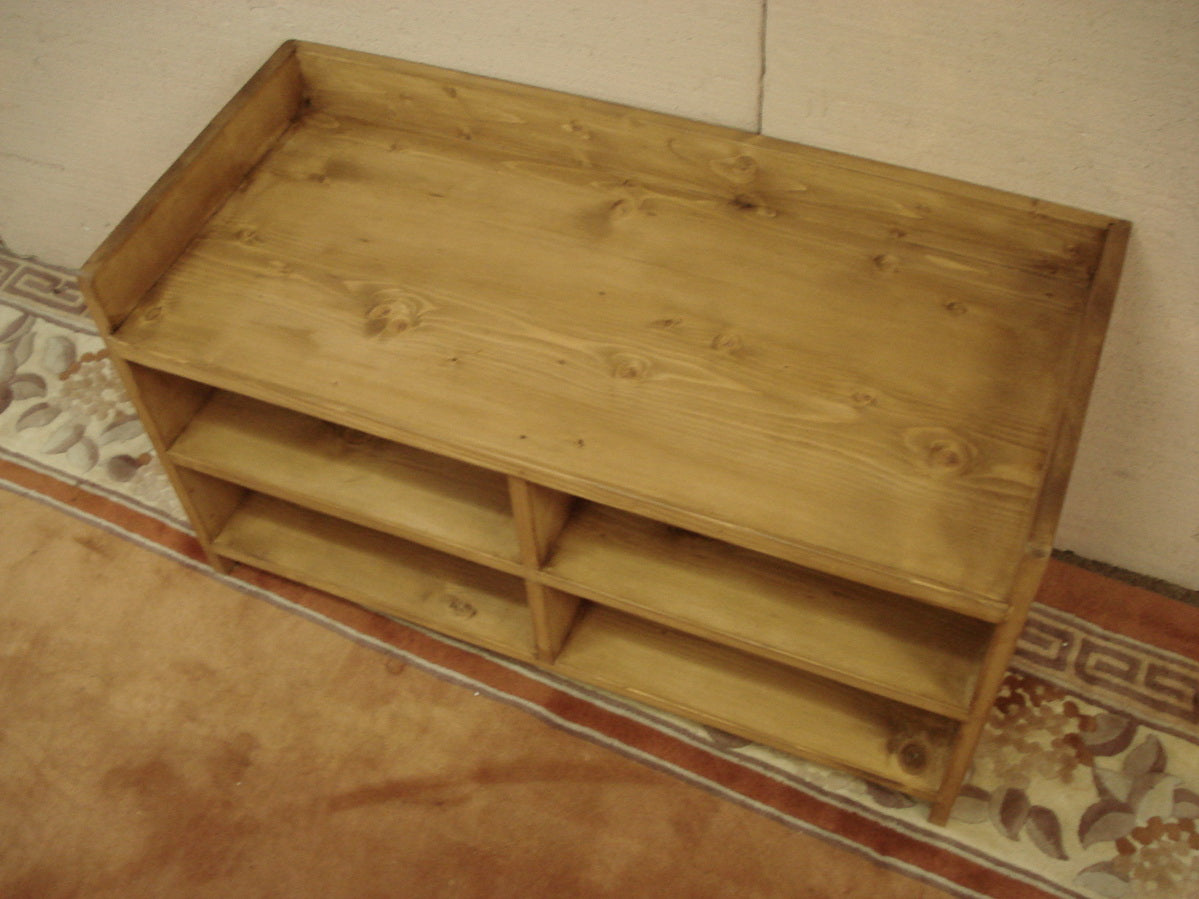 Honey pine Made to Measure Shoe Storage Hall Seat