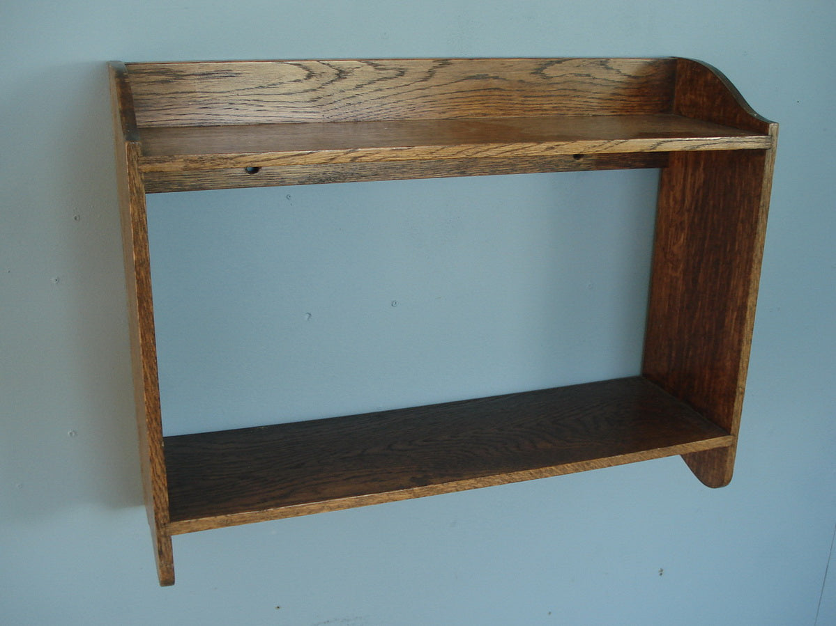Two tier oak wall shelf