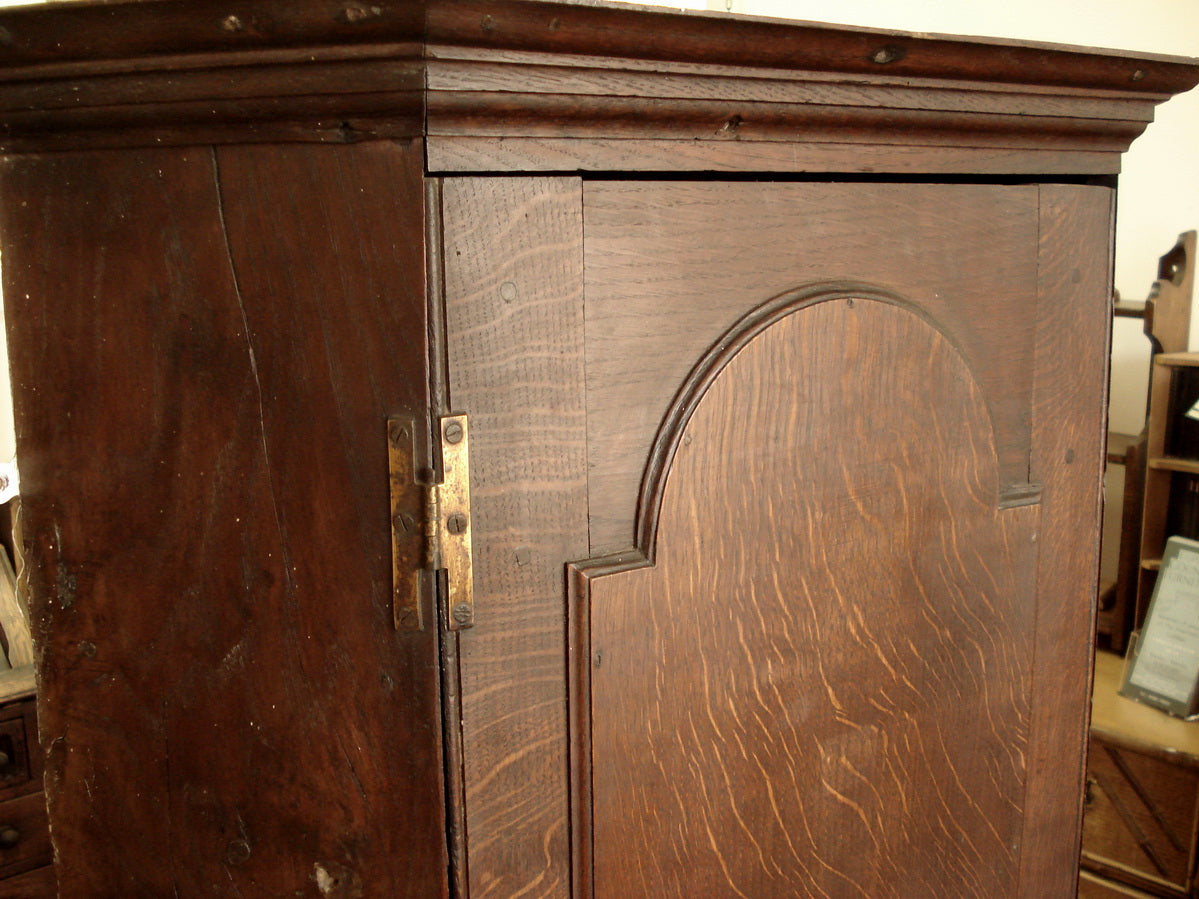 Deep wall hung oak corner cupboard