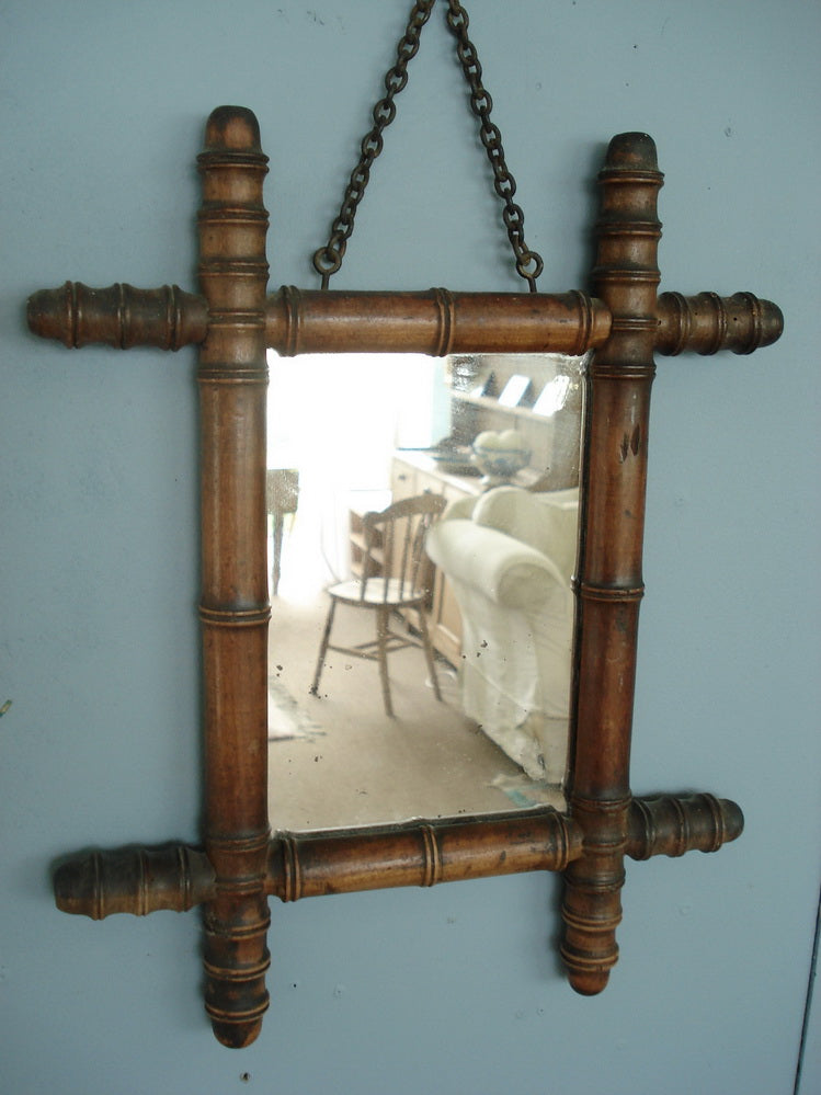 Small Faux Bamboo Framed Mirror