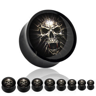 Mummy Skull Picture Insert Black Acrylic Saddle Plugs - Sold in Pairs