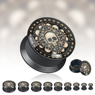 'Chamber of Bones' Print Black Acrylic Screw Fit Plugs - Sold in Pairs
