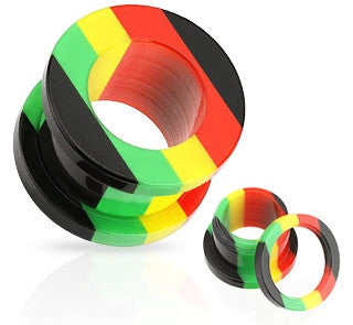 Acrylic Rasta Stripe Screw-Fit Plugs- Sold in Pairs