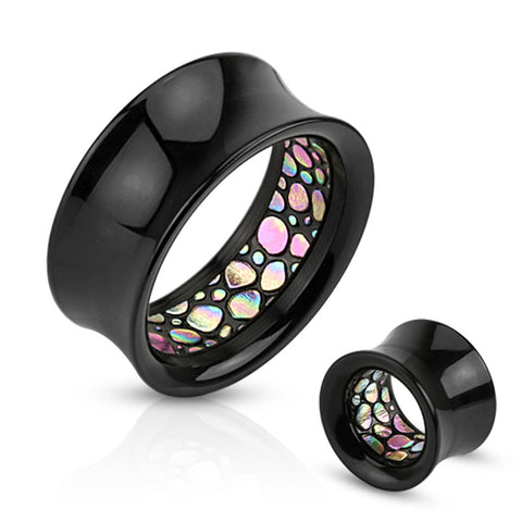 Abalone Pattern Inlayed Inside of Black Acrylic Saddle Fit Tunnels-Sold in pairs