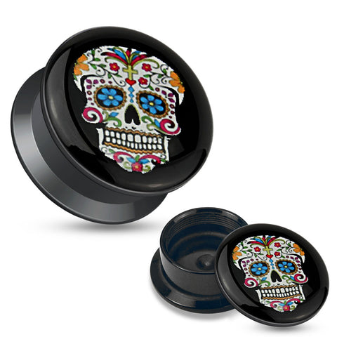 Blue Sugar Skull Black Acrylic Stash Screw Fit Plugs-Sold in pairs