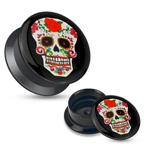 Red Sugar Skull Black Acrylic Stash Screw Fit Plugs-Sold in pairs