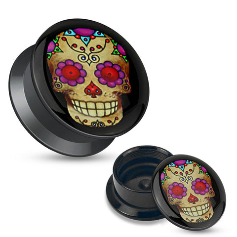 Violet Sugar Skull Black Acrylic Stash Screw Fit Plugs-Sold in pairs