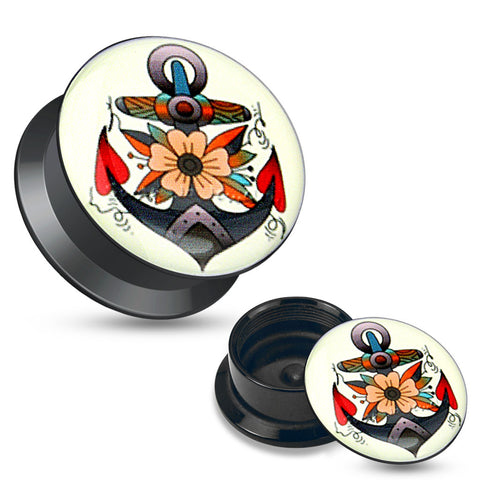 Flower Anchor Black Acrylic Stash Screw Fit Plugs-Sold in pairs