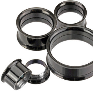 Screw-Fit Tunnel Black Plugs - Sold in Pairs