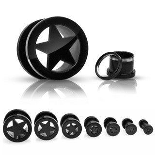 Black Star Black Titanium IP Over 316L Surgical Steel Screw Fit Tunnels.  Sold in Pairs