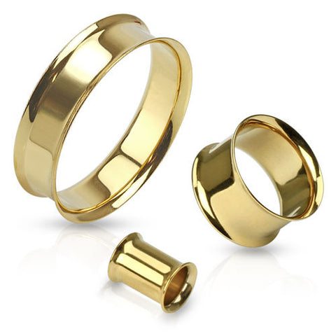 Double Flared Tunnel Plug Gold IP -Sold in Pairs