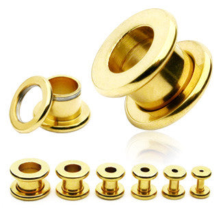 Gold IP over 316L Surgical Stainless Steel Screw Fit Tunnel - Sold in Pairs