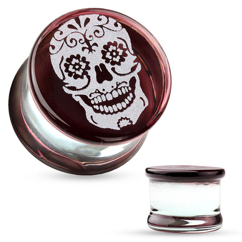 Sugar Skull Engraved Face Pyrex Glass Saddle Plugs-Sold in pairs