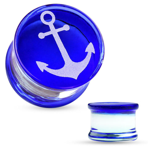 Anchor Engraved Face Blue Pyrex Glass Saddle Plugs-Sold in pairs