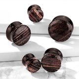 Sparkling Stripes Pyrex Glass Double Flared Plugs-Sold as Pair