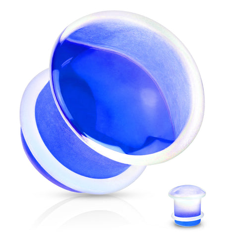 BLUE GLASS SINGLE FLARED PLUGS - SOLD AS PAIR