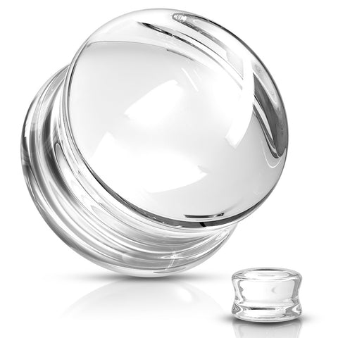 Clear Glass Double Flared Plugs-Sold as Pair