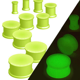 Double Flared Glow in the Dark Silicone - Sold in Pairs