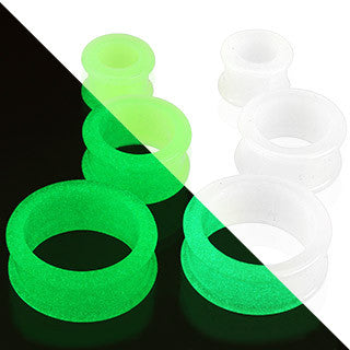 SiliconeDouble Flared Tunnel Glow in the Dark Flexible Plug - Sold in Pairs