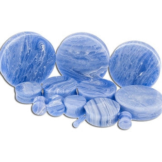 Blue Line Agate Stone Plugs - Sold in Pairs