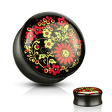 Printed Flower Inlaid Organic Ebony Wood Saddle Plugs-Sold as a Pair