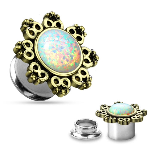 Lotus Flower with Imitation Opal Center 316L Surgical Steel Screw Fit Tunnels-Sold in pairs