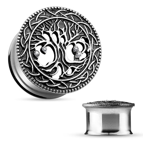Tree of Life Face 316L Surgical Steel Double Flare Tunnels-Sold in pairs
