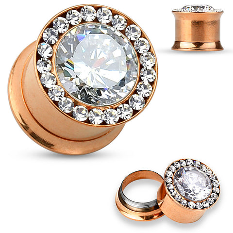 Large CZ jewel center with CZ jewels set around rim Rose Gold Plated- Double Flared Screw Fit Plugs