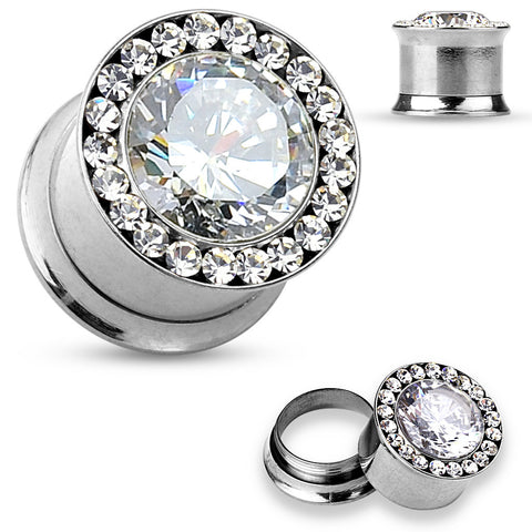 Large Cz Jewel Center With Cz Jewels Set Around Rim 316 Steel