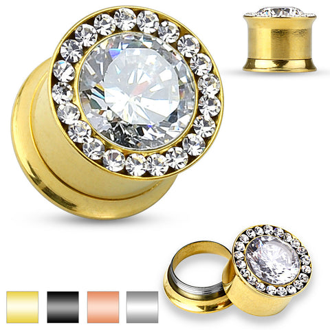 Large CZ jewel center with CZ jewels set around rim Gold Plated- Screw Fit Plugs
