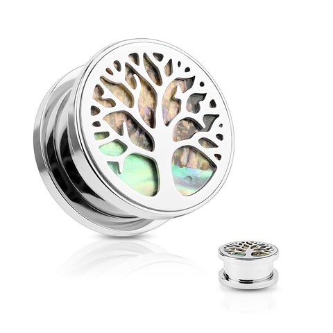 Tree of Life with Abalone Inlaid Top Steel Screw Fit Flesh Tunnel Plugs- Sold as a pair.