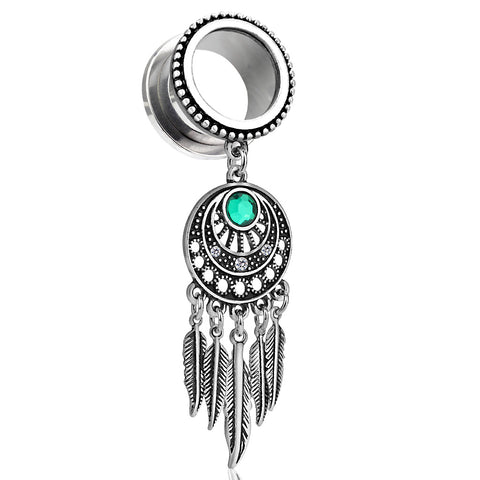 Dream Catcher Dangle Beaded Edge Threaded Tunnels- Sold as Pair