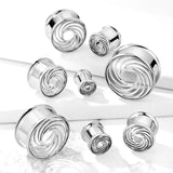 Cut Out Swirl Front Steel Double Flared Tunnels-Sold as Pairs