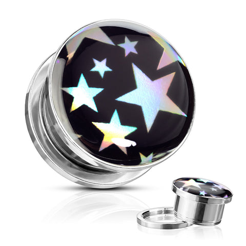 Stars Hologram Steel Screw Fit Plugs-Sold in Pairs
