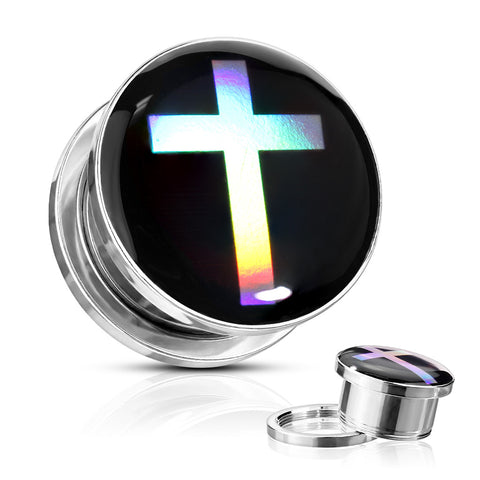 Cross Hologram Screw Fit Plugs-Sold in Pairs