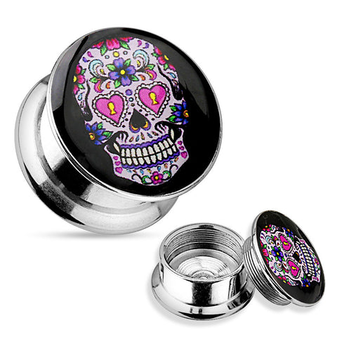 Pink Sugar Skull 316L Surgical Steel Screw Fit Plugs-Sold in pairs