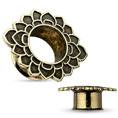 Tribal Flower Antique Gold IP Flared Tunnels-Sold in pairs