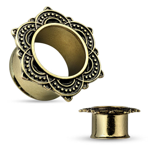 The Rose of Sharon Antique Gold IP Double Flared Tunnels