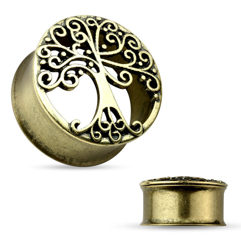 Tree Of Life Antique Gold IP Double Flared Tunnel-Sold in pairs