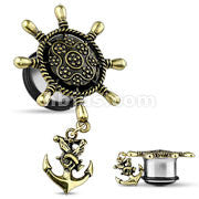 Ship Wheel with Anchor Dangle Single Flare Plugs- Sold in pairs