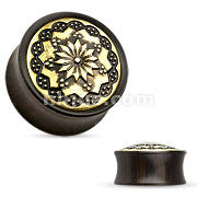Floral Tribal Pattern Ebony Wood Double Flare Saddle Fit Plugs-Sold in pairs