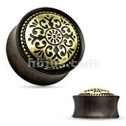 Antique Tribal Pattern Ebony Wood Saddle Fit Plugs- Sold in pairs