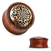 Antique Tribal Pattern Rose Wood Saddle Fit Plugs- Sold in pairs