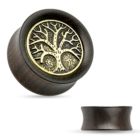 Tree of Life in Wood Saddle Plugs.  Sold in Pairs.