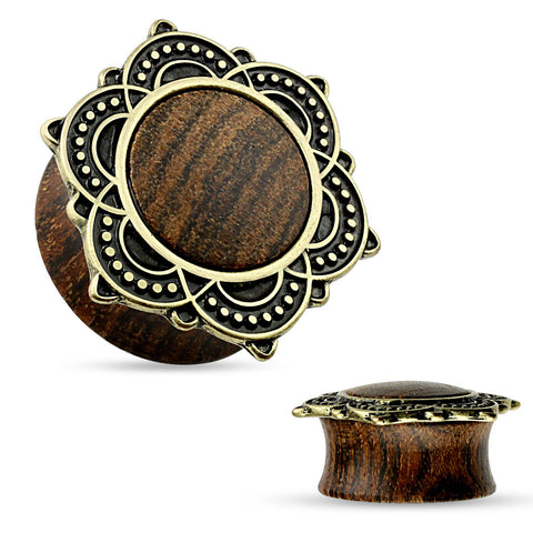 Tribal Lotus on top Natural Rose Wood Saddle Plugs.  Sold in Pairs.