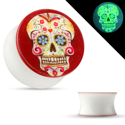 Sugar Skull Print Glow in the Dark Double Flared Acrylic Saddle Plugs-Sold in pairs
