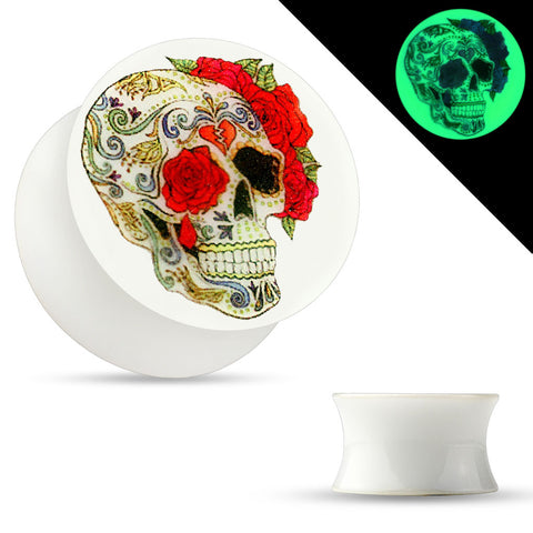 Sugar Skull Rose Print Glow in the Dark Double Flared Acrylic Saddle Plugs-Sold in pairs