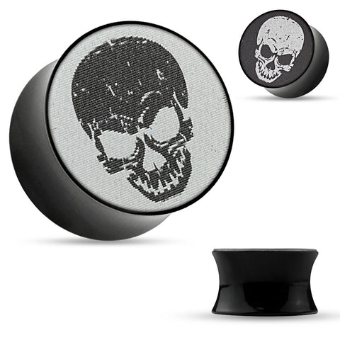 3-D Holographic Skull Black Acrylic Saddle Plugs.   Sold in pairs