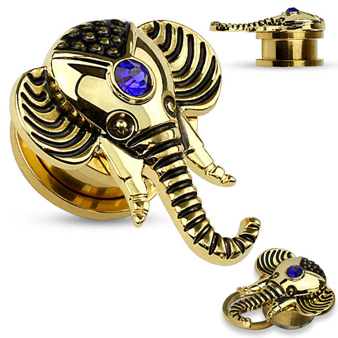 Elephant 14 Kt. Gold Plated Top with Sapphire Blue CZ Screw Fit Plugs- Sold in Pairs