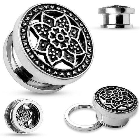 Tribal Lotus on Screw Fit Flesh Tunnels.  Sold in Pairs